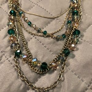 Stylish Chain Necklace w/crystal beads